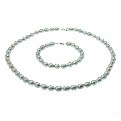 Silver Grey Pearl Necklace & Bracelet Set Oval Freshwater Pearls Sterling Silver