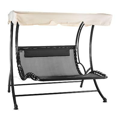 Swing Lounger Two Seater Outdoor Relaxing Weatherproof Pvc Steel Solid Cushion