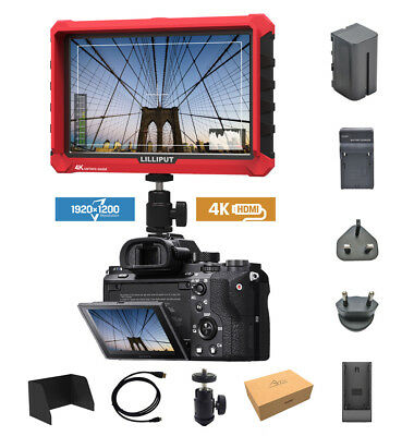 Lilliput A7s 7-inch 1920x1200 DSLR camera field monitor + Battery + charger