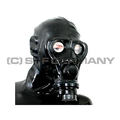 Fetish Gas Mask+ Hood Latex Set F. Corset Catsuit Corset Shorts Pants Sale Offer