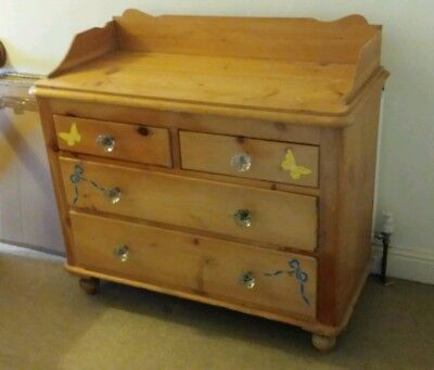 Vintage Pine Chest of Drawers with Glass Knobs and Stencilling