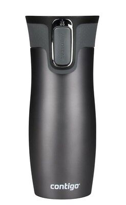 Contigo West Loop Autoseal Travel Mug 470ml Steel Spill Free Gunmetal/Graphite