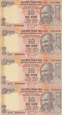 8 India 10 Rupees Fancy serial number set 200000-900000 Choice UNC