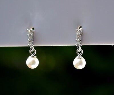 Sterling Silver 925 Synthetic White Pearl Drop Earrings