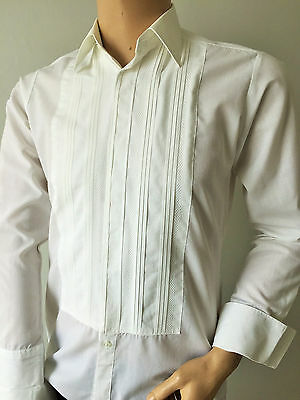 White Embroidered Dress Shirt Rocoal Vintage Dinner Formal 40in X 14in Small UK