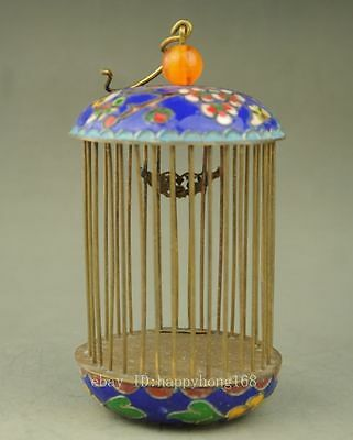 Chinese Decorated handwork inlay Butterfly Painting flower cloisonne Bird cage