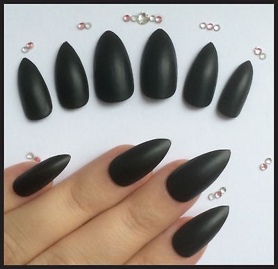 HALLOWEEN False Nails STILETTO (Or Any) Witch Claws Pointed Matte Black FAST