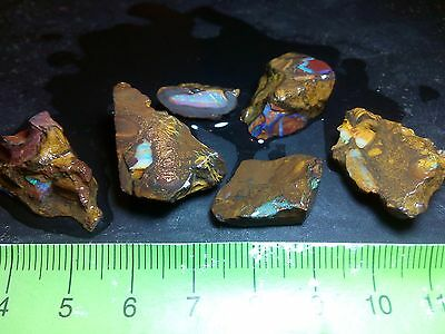 Opal Rough Australian Yowah Beautiful Colors 123 cts - 6 pieces