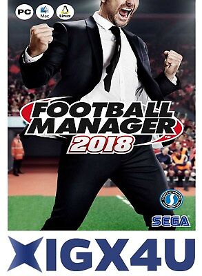 Football Manager 2018 PC Game Key Steam Download Code IT EU [Pre-order]