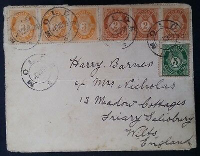 RARE 1899 Norway Cover ties 7 Posthorn stamps canc Molde to Salisbury UK