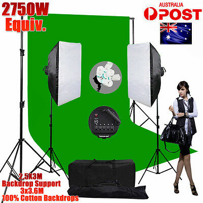 2750W 5 Head Photo Studio Softbox Continuous Lighting Green Backdrop Stand KIT