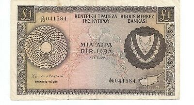 EXCELLENT CYPRUS 1 POUNDS ISSUED 01.11.1972 P43a