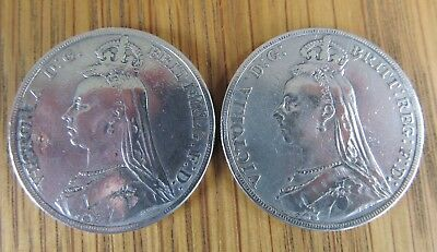 1889 SILVER CROWNS x 2  QUEEN VICTORIA BRITISH COIN GREAT BRITAIN