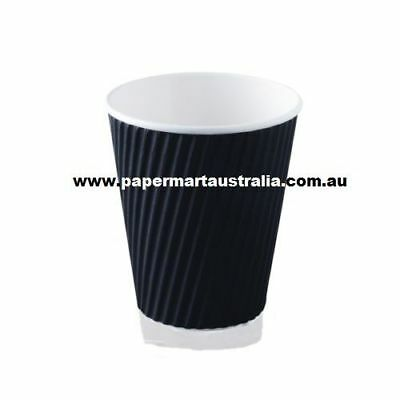 8oz Black Triple Ripple Wall Disposable Paper Coffee Cups & Lid