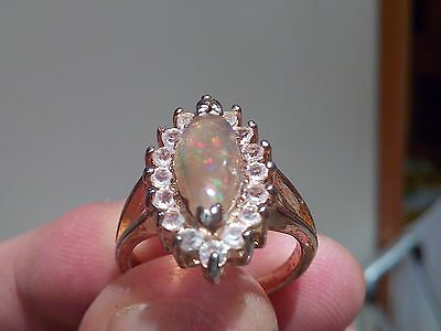 Ring With Opal Crystal Indonesian Multicolor
