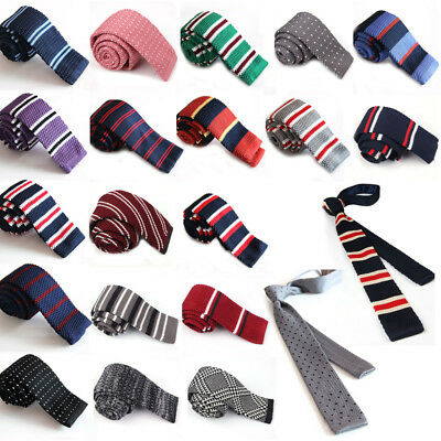 Men's Colourful Striped Tie Knit Knitted Tie Necktie Narrow Slim Skinny Woven