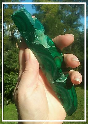 Natural raw Malachite with polished front