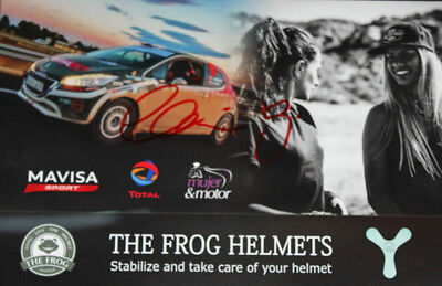 Christine Zonca signed rally postcard Peugeot 208