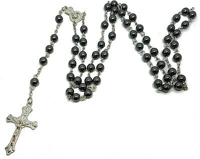 Mens Womens Black Glass Rosary Bead Beads Jesus Cross Necklace Gift