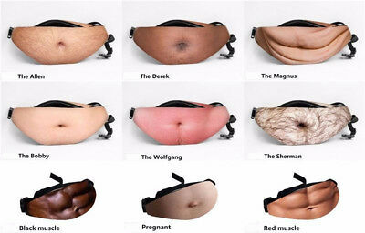 Funny Men Women Dad Bod Bag Waist Bags Novelty Beer Fat Hairy Belly Fanny Pack D