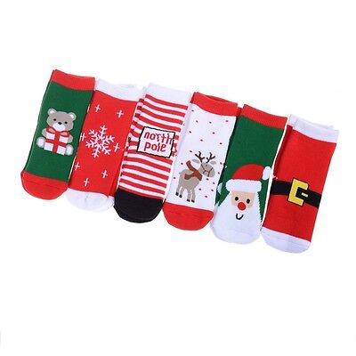 6 pairs Baby Socks Slip-resistant Cartoon Socks Cute Christmas Design Socks Lhy