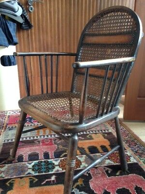 caned chair with leather inserts, pretty and fine, English, 1930's possibly