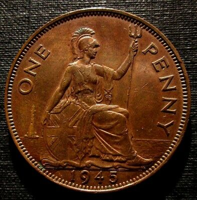 UNCIRCULATED 1945 King George VI One Penny BEAUTIFUL.COIN Good detail