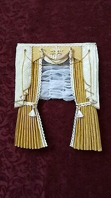1:12th scale Gold/White CURTAINS with Festoon  -Handcrafted by Eva