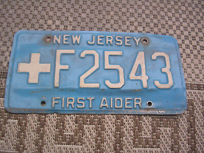 New Jersey  N J License Plate  First Aider    +  F2543 Blue / White