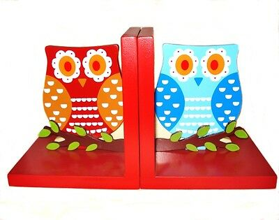 Red Wooden Owl Bookends Gifts for Children Decor Nursery