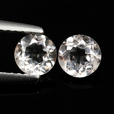 0.92 Ct Attractive Rare Natural Pink Morganite Round Cut Pair Loose Gemstones