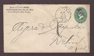 mjstampshobby 1894 US Famous T D Moore Saint Clair Vintage Cover Used (Lot4787)