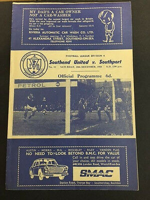 10/12/1966, Southend United v Southport, Division 4