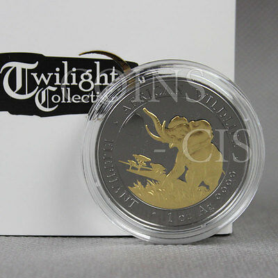 Somalia 2016 100 Shillings Elephant Twilight collection 1oz BU Silver Coin