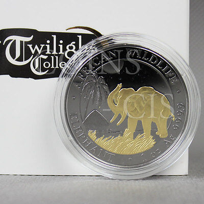 Somalia 2017 100 Shillings Elephant Twilight collection 1oz BU Silver Coin