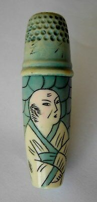 RARE 1920/30s EARLY PLASTIC SEWING ETUI WITH HAND ETCHED & PAINTED DECORATION