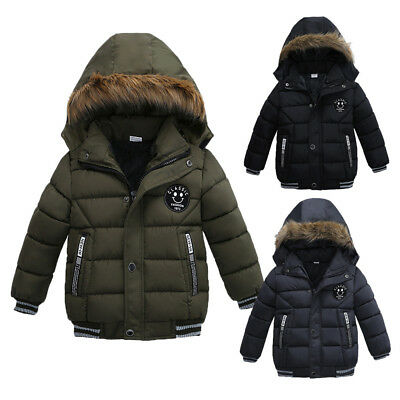 Winter Baby Boys Kids Handsome Solid Warm Thick Coat Padded Jacket Outwear NEW