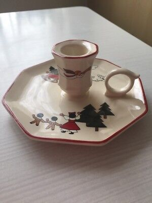 Masons Christmas Village Candlestick Holder With Finger Hold