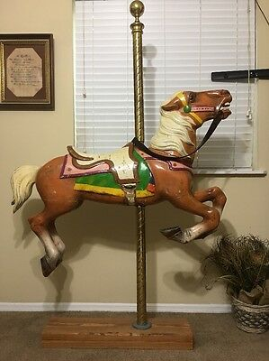 Vtg Original Wood Metal Carved Allan Herschell Carousel Horse Shipping Available