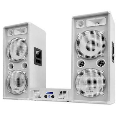 """Dj Pa System 12"""" Speakers Amplifier Amp """"arctic Ice"""" Set 2000W Party Disco Club"""