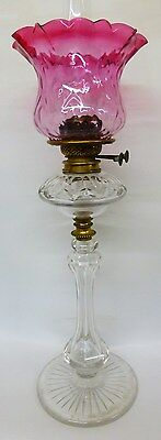 Beautiful tall Victorian Hinks cut glass oil lamp with original cranberry shade