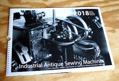 NEW 2018 Wall Calendar Large Size 43x30cm - Industrial Antique Sewing Machines