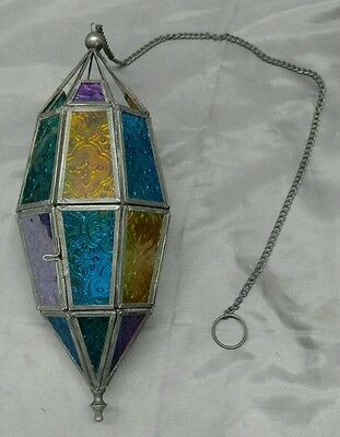Moraccan style colored glass tea candle hanging lantern light