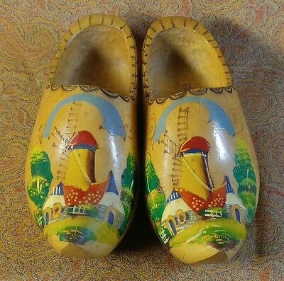 Old vintage hand carved hand painted wooden clogs shoes Holland