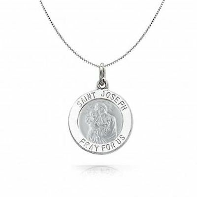 ST. JOSEPH DISC NECKLACE PENDANT sterling silver 925 free gift box