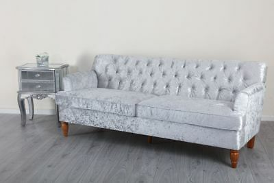 Chesterfield Silver Grey Crushed Velvet 1 2 3 Seater Sofa Set ArmChair Wooden
