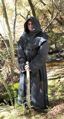 Monk's Robe and Hood - Wizard, Sorcerer, Mage, or Priest Costume BLACK