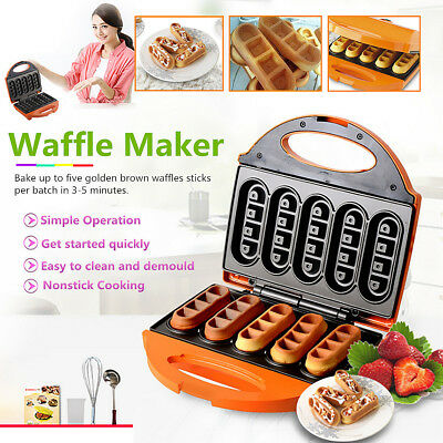 Electric Waffle Maker Machine Non-Stick Heating Plate Pan Baker Kitchenware 640W