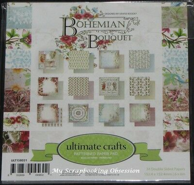 "Ultimate Crafts 'BOHEMIAN BOUQUET' 6x6"" Paper Pad 24 Sheets Flowers/Floral"