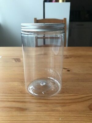 4 Clear Wide Neck Plastic Jars